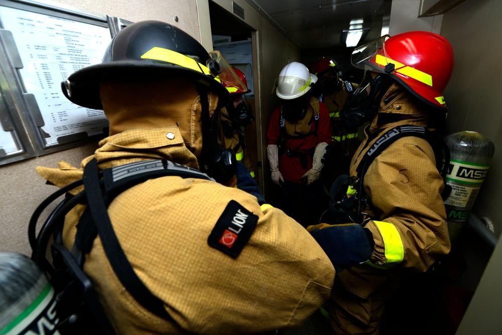 Coast Guard Cutter Polar Star crewmembers conduct damage control drills