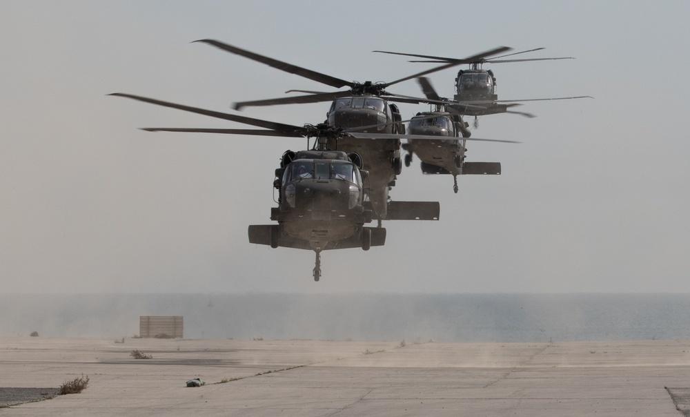 Black Hawk Helicopters Arrive at Kuwait Naval Base