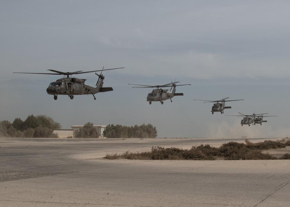 Black Hawks Take Off from Kuwait Naval Base
