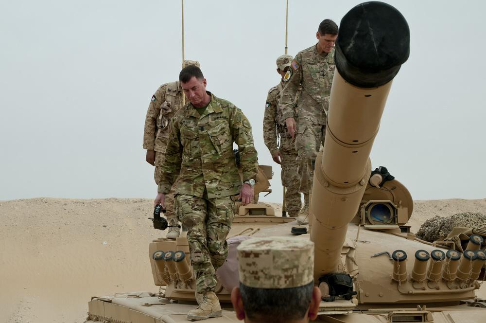 U.S. Central Command Commander and CSM Climb Off of Kuwaiti Tank