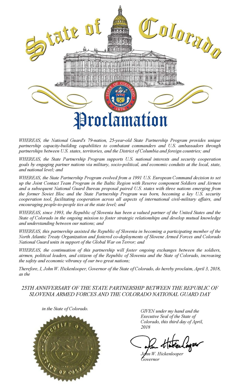 Governor issued proclamation for 25th anniversary of Slovenia-Colorado partnership