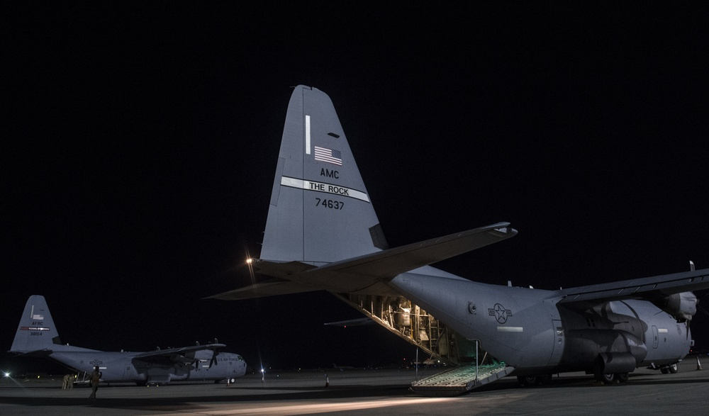 A C130J Super Hercules airdrops Expeditionary Advisory Packages in Afghanistan