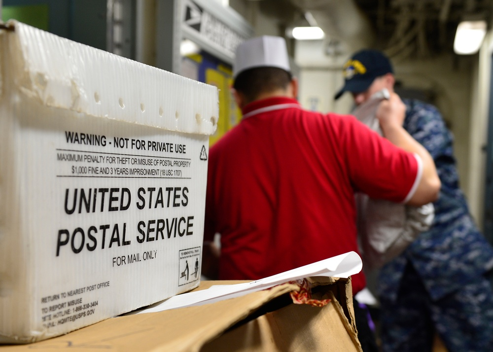 Blue Ridge Sailors work in the post office and barber shop.
