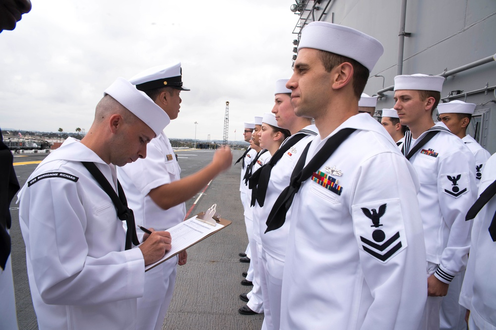 Uniform inspection aboard USS Bonhomme Richard (LHD 6)