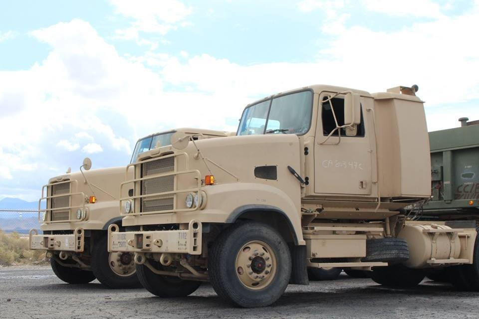 M915A5s belonging to the U.S. Army Reserve's 250th Transportation Company
