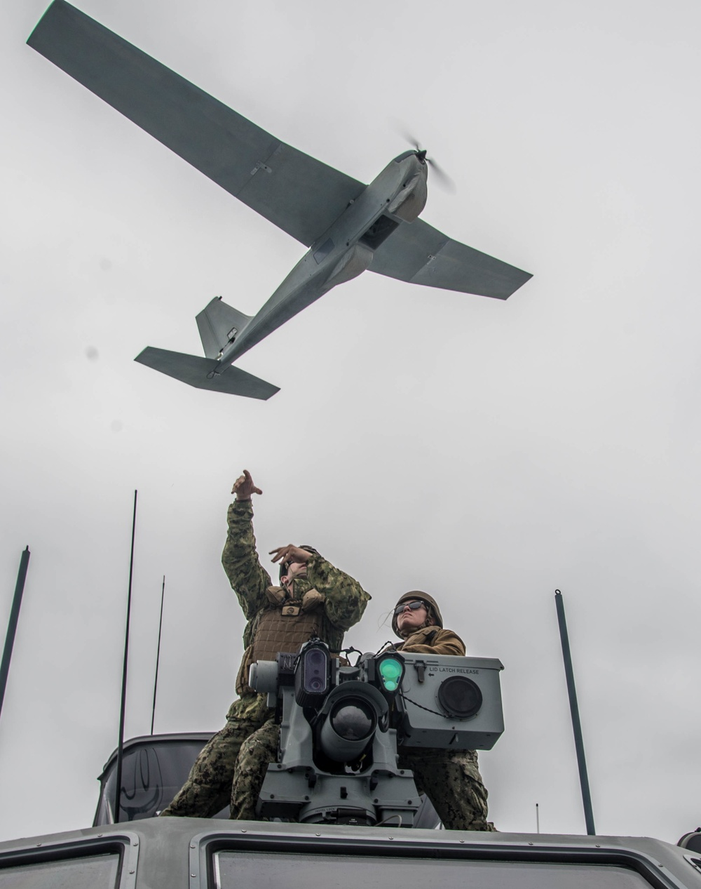 CRS 3 Mark VI Patrol Boats Underway during UAV Training Exercise
