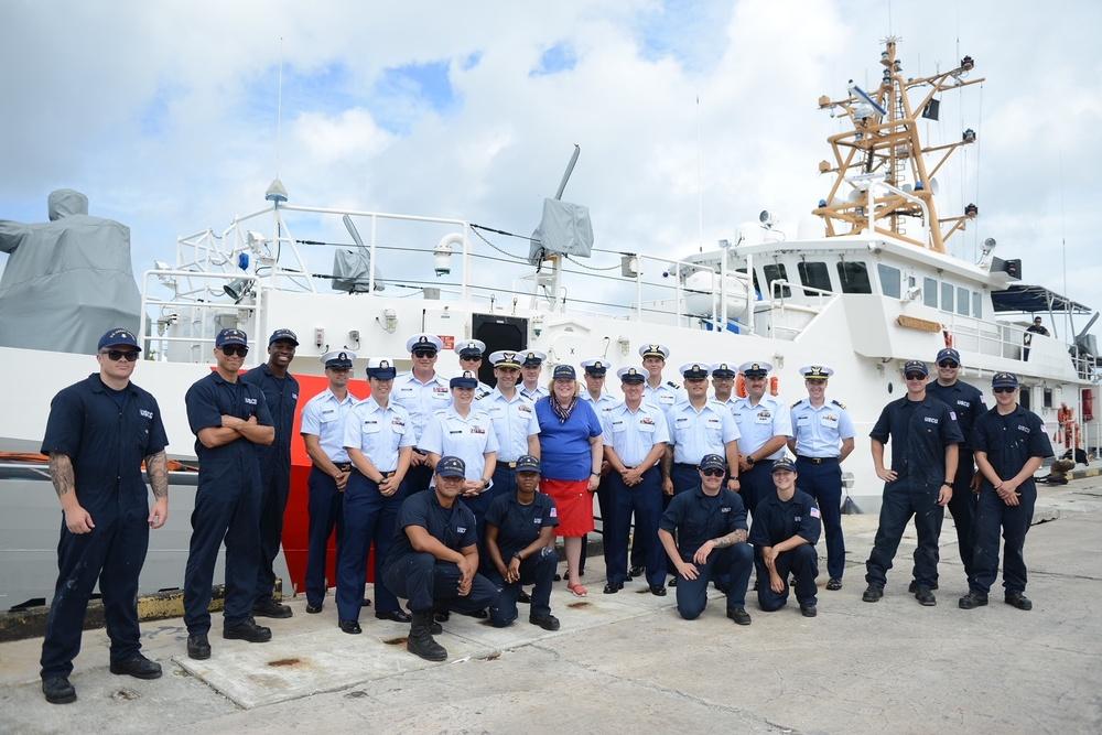 USCGC Oliver Berry hosts Ambassador Karen Stewart in Majuro