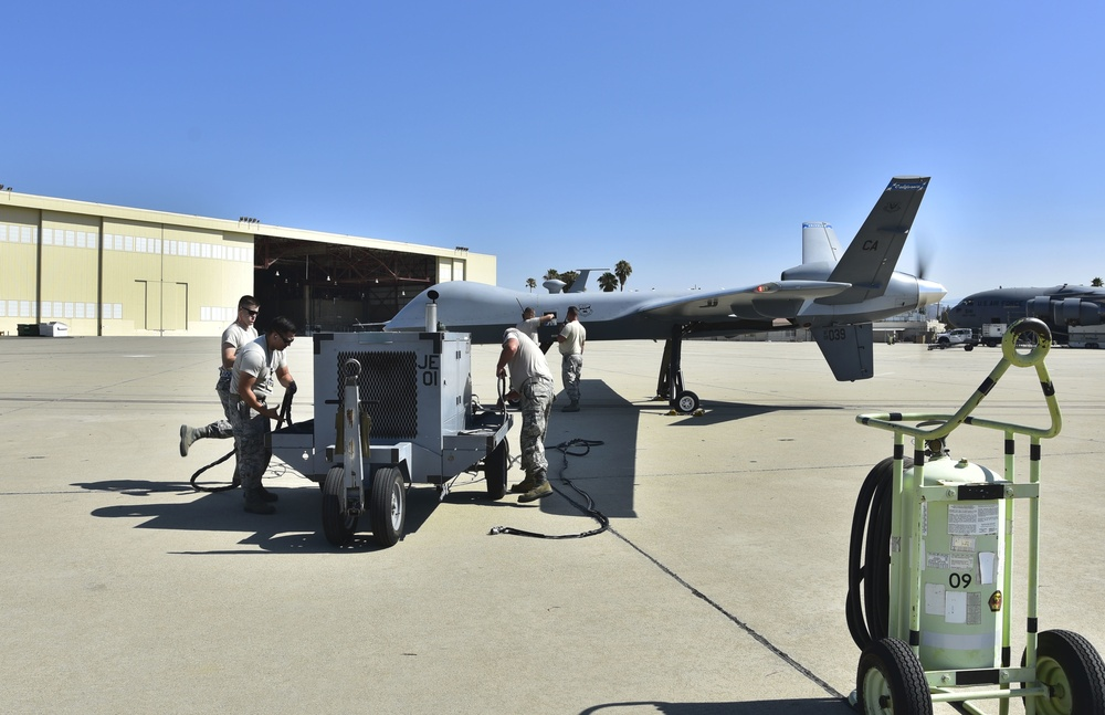 California Fires: Maintainers lift MQ-9s for wildfire missions