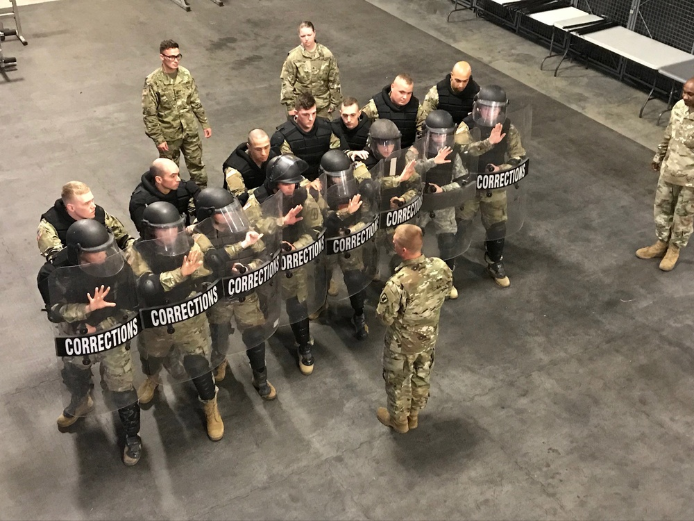 102nd MP Soldiers conduct riot training at Fort Leavenworth, Kansas