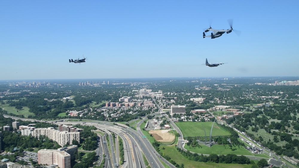 1st SOW aircraft perform Air Force Memorial Medal of Honor flyover