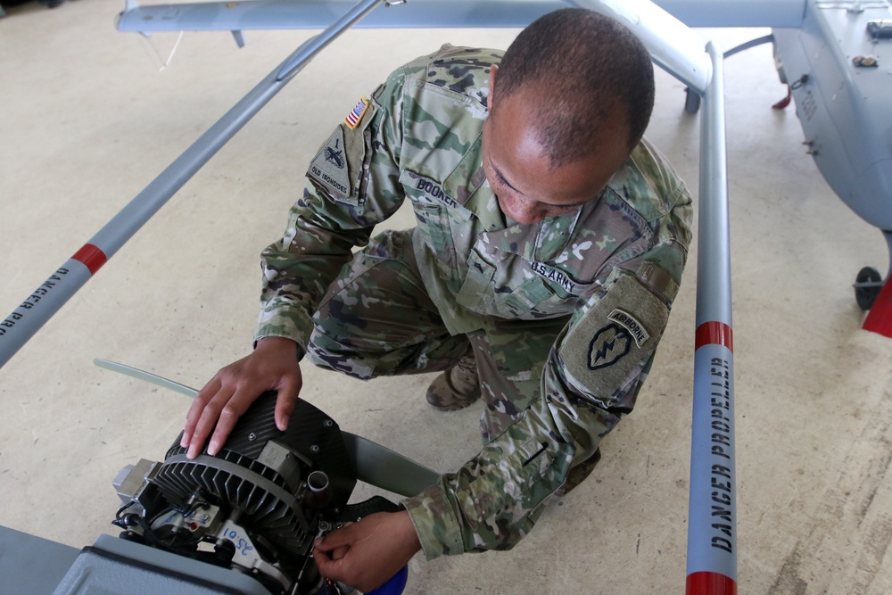 Spartans perform maintenance on Unmanned Aircraft Systems