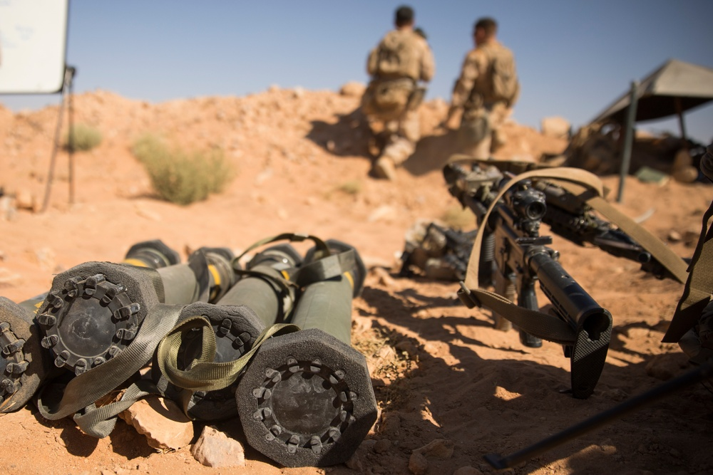 U.S. Marines with SPMAGTF-CR-CC practice company size reinforcement, live fire ranges in Syria