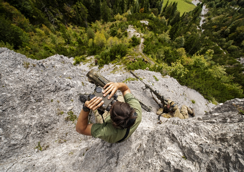 NATO Snipers Practice High-Angle Shooting in Austria