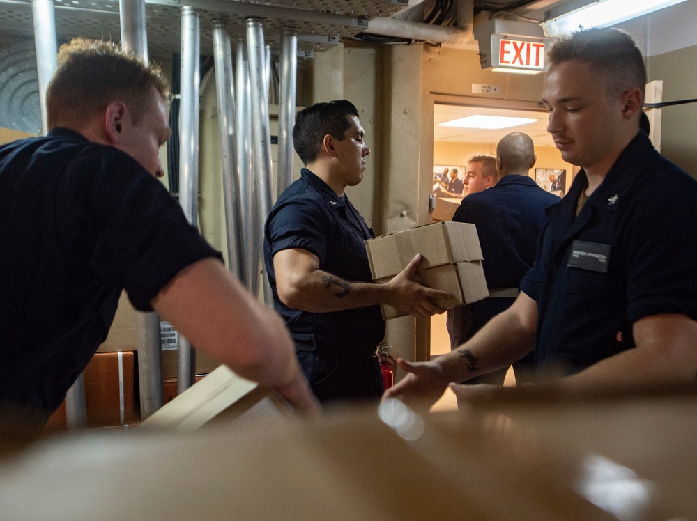 USNS Comfort Sailors Prepare Medical Supplies for Upcoming Mission Stops