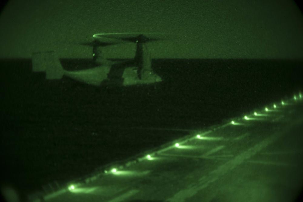 MV-22 Osprey night flight ops on the USS Kearsarge