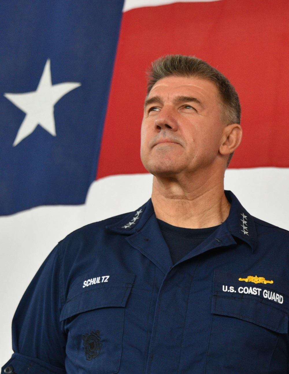 Coast Guard Commandant Adm. Karl Schultz visits with San Diego Coast Guard crew