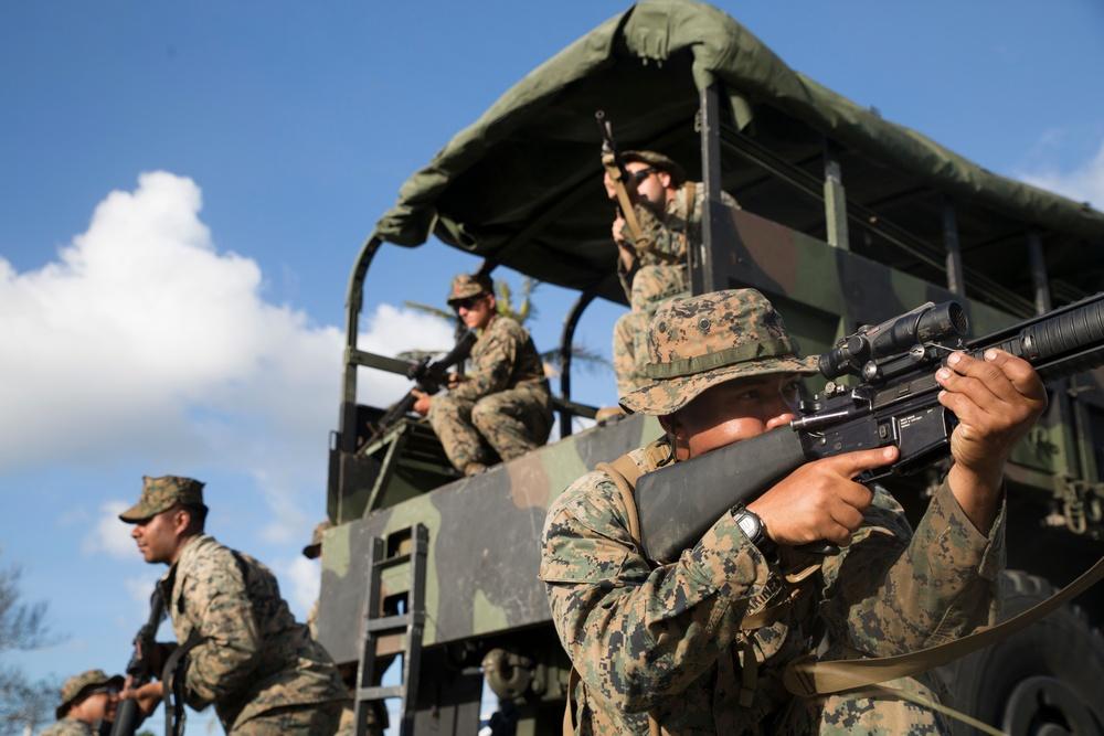 CLB-31 Marines conduct convoy lane training in Guam