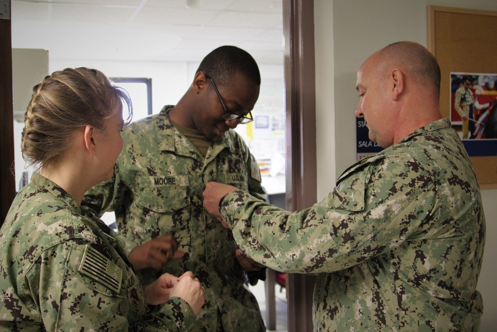 HM2 Stephon Moore Is Promoted Via Meritorious Advancement Program at Naval Hospital Rota