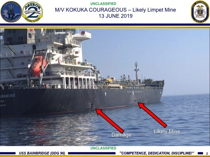Damage from an explosion, left, and a likely limpet mine can be seen on the hull of the civilian vessel M/V Kokuka Courageous in the Gulf of Oman
