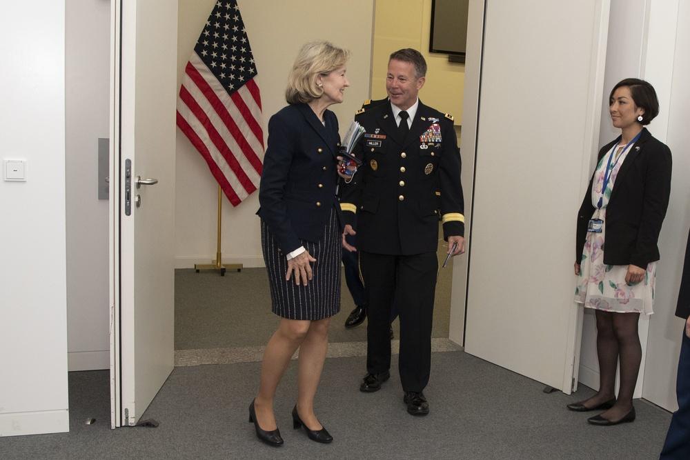 Ambassador Hutchison Speaks Resolute Support Commander