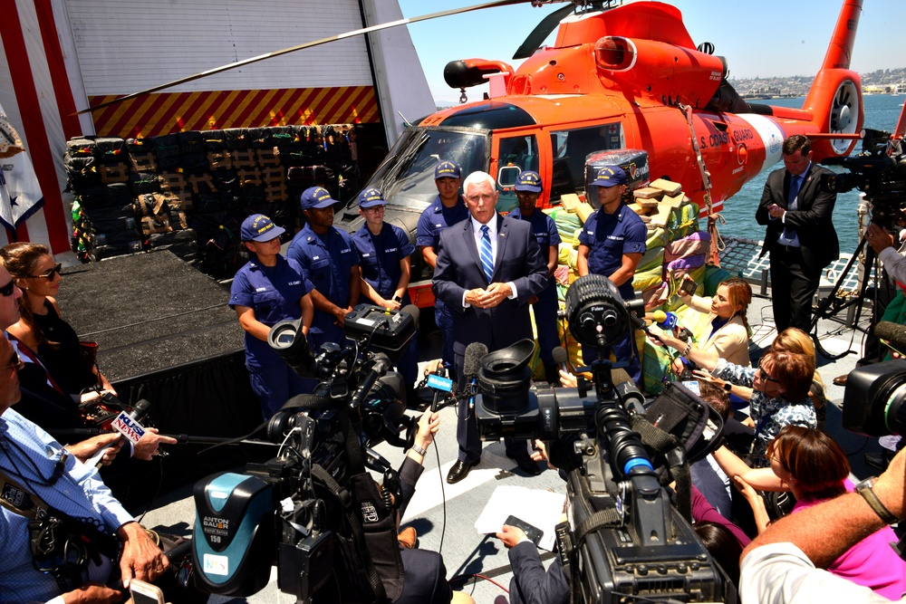 Vice President Pence participates in $569 million cocaine offload from aboard U.S. Coast Guard Cutter Munro in San Diego