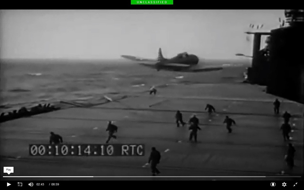 U.S. Navy Douglas SBD Dauntless dropping a bean-bag message