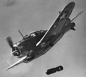 U.S. Navy Douglas SBD Dauntless A-24 Banshee releases a bomb