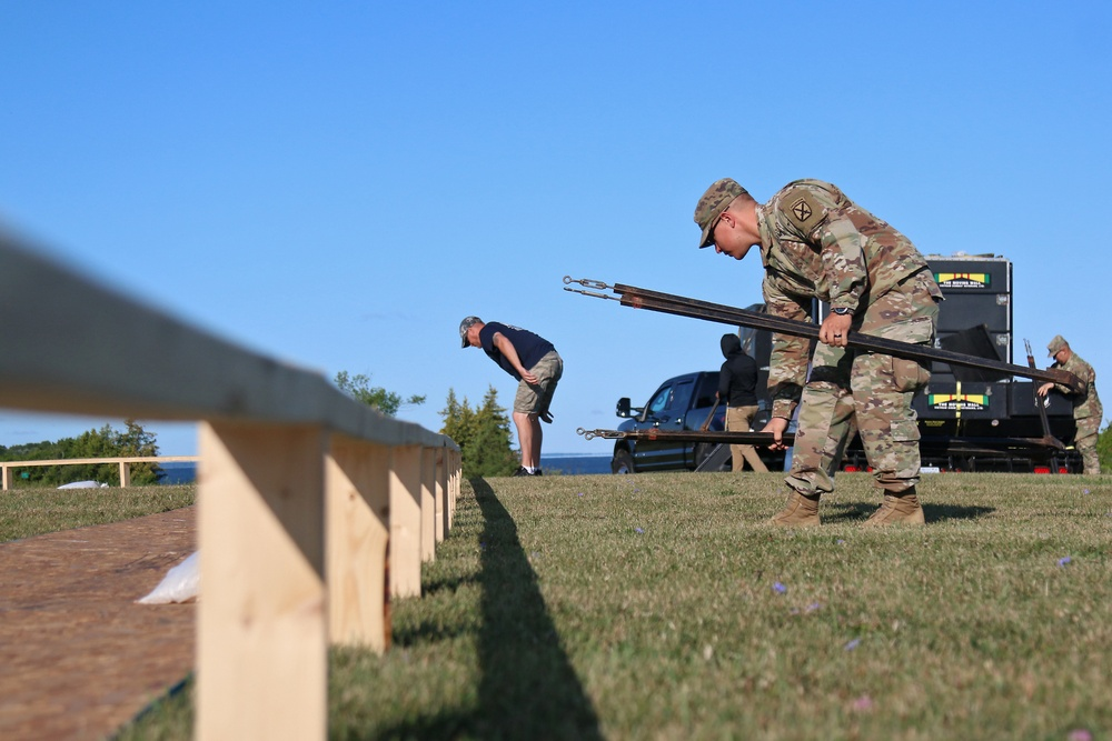 Engineer Soldiers set up moving Vietnam wall