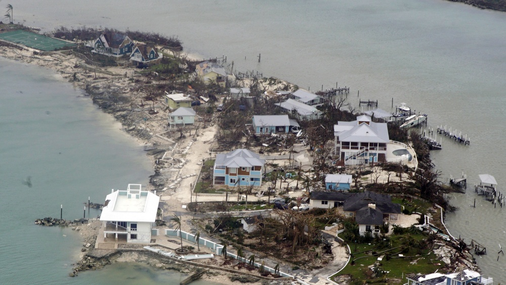 Hurricane Dorian damages houses in the Bahamas