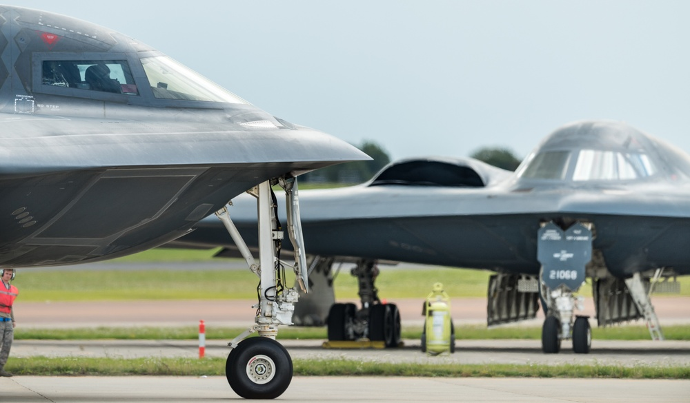 A B-2 Spirit Stealth Bomber from Whiteman AFB taxis down a runway at RAF Fairford