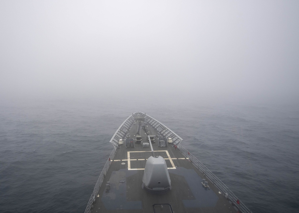 USS Normandy Transits Through Fog