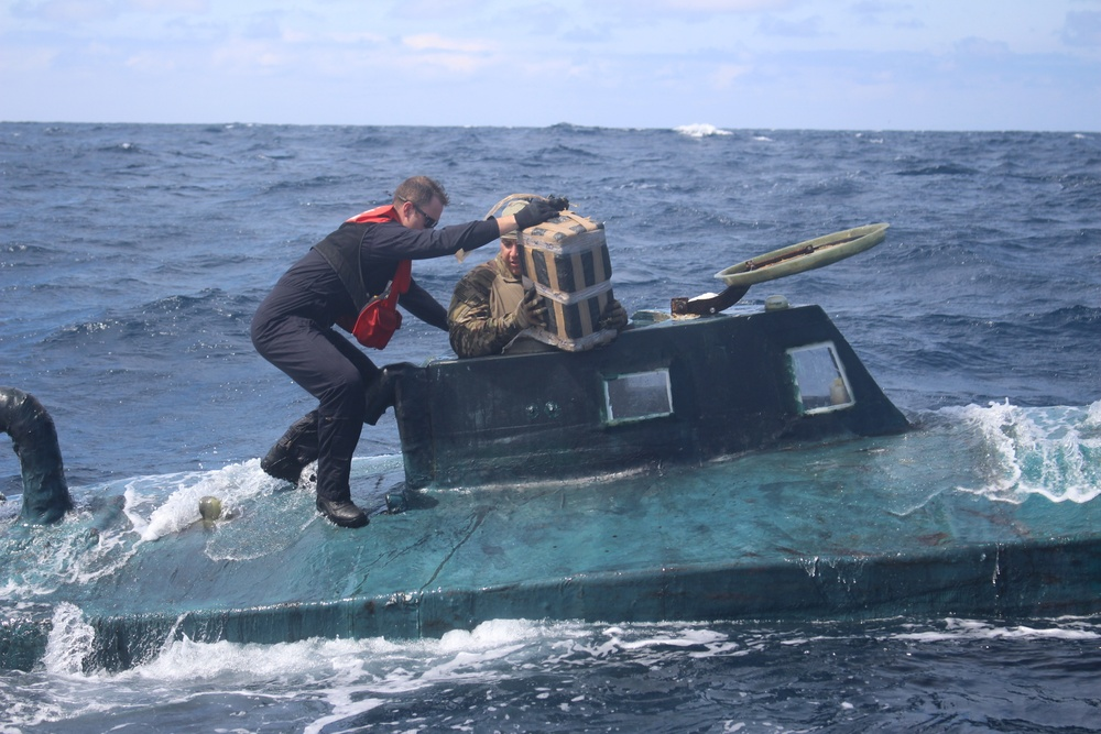 Coast Guard Cutter Valiant interdicts self-propelled semi-submersible in the Eastern Pacific