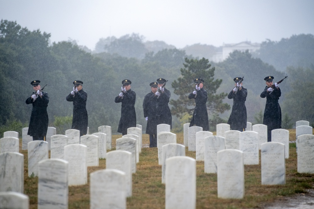 Military Funeral Honors With Funeral Escort are Conducted for U.S. Army Air Force 1st Lt. Seymour Drovis in Section 57