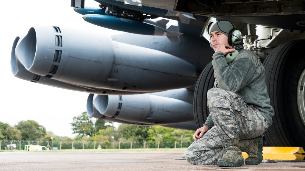 B-52 Crew Chief Performs Pre-flight Checks