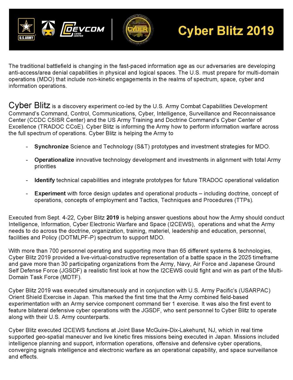 Cyber Blitz 2019 Factsheet