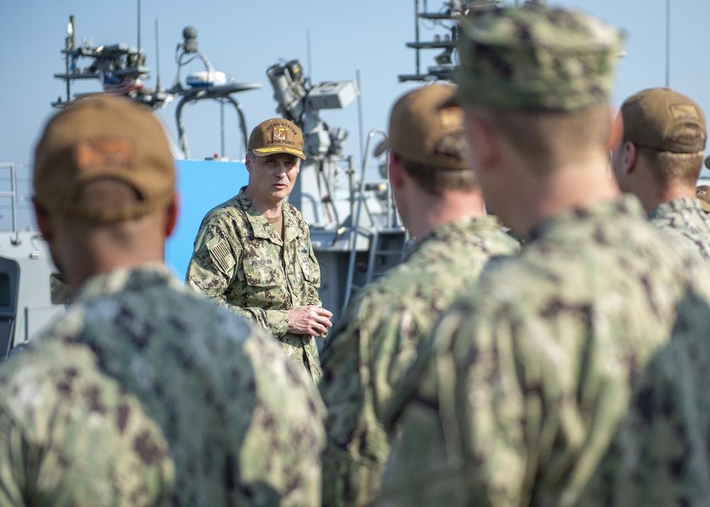 Rear Adm. Renshaw visits Commander Task Unit 56.7.5 and Mark VI Boats