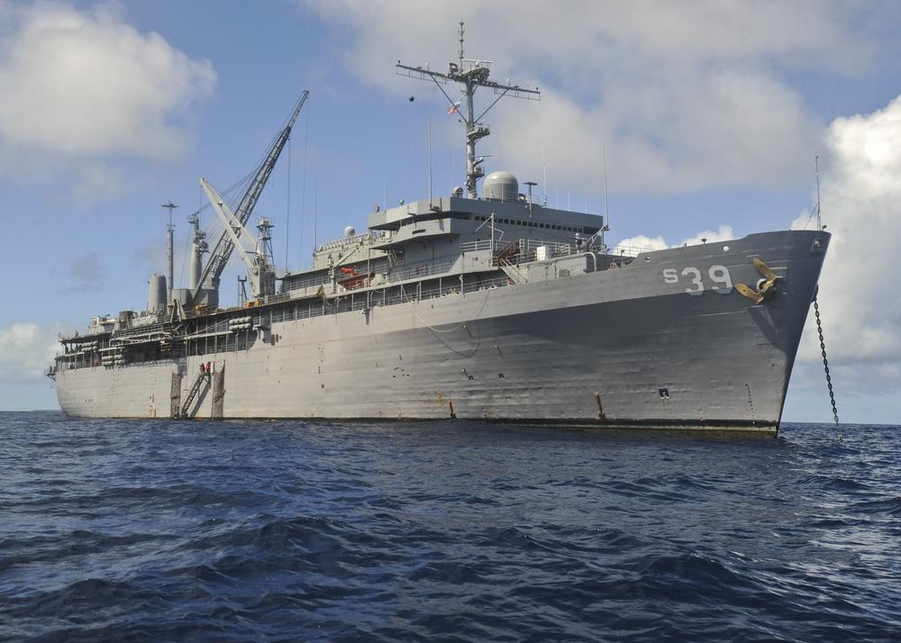 USS Emory S. Land Anchored at Ulithi Atoll