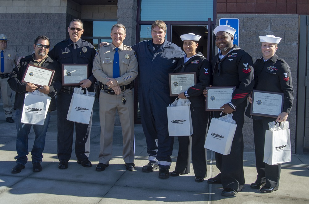 Sailors Among Those Honored by California Highway Patrol for Heroic Acts
