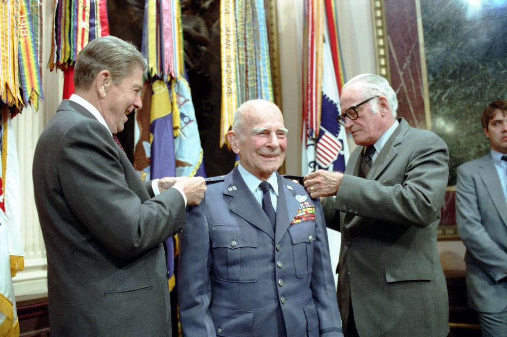President Reagan and Senator Barry Goldwater present the fourth star to General Jimmy James Doolittle