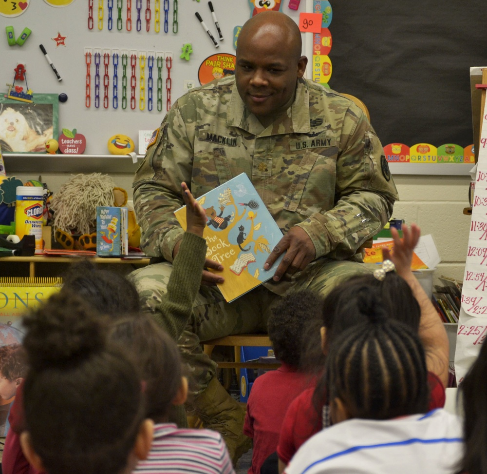 Troop Support military visit local elementary school for Read Across America Day