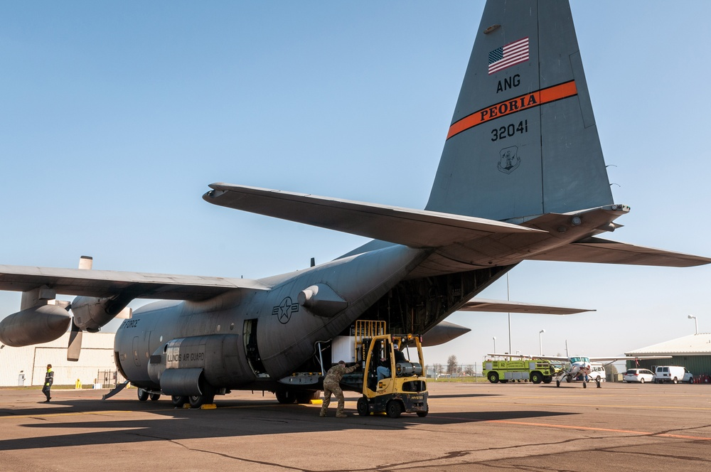 Illinois Air National Guard C-130s transport 250 medical isolation pods cross-country to combat COVID-19 in Chicago