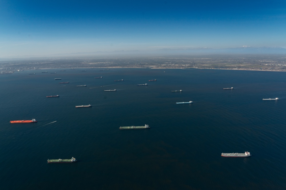 Oil Tankers sit at anchor in Southern California