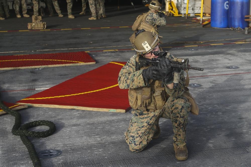 Fox Company executes fast-roping, live-fire training aboard USS Bataan