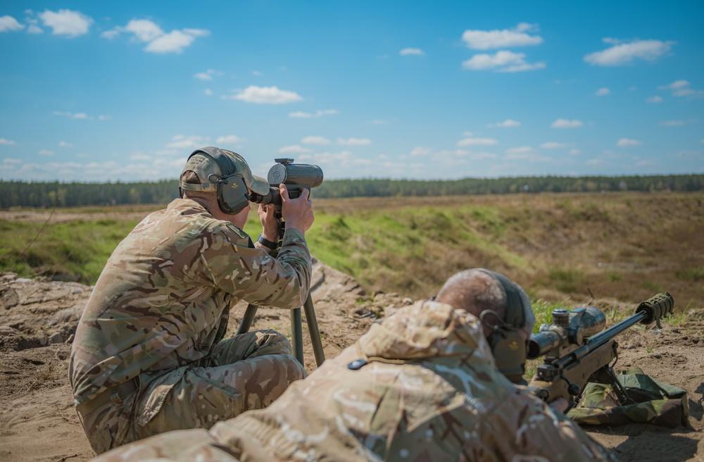 British snipers sharpen their skills during NATO's eFP BG-P