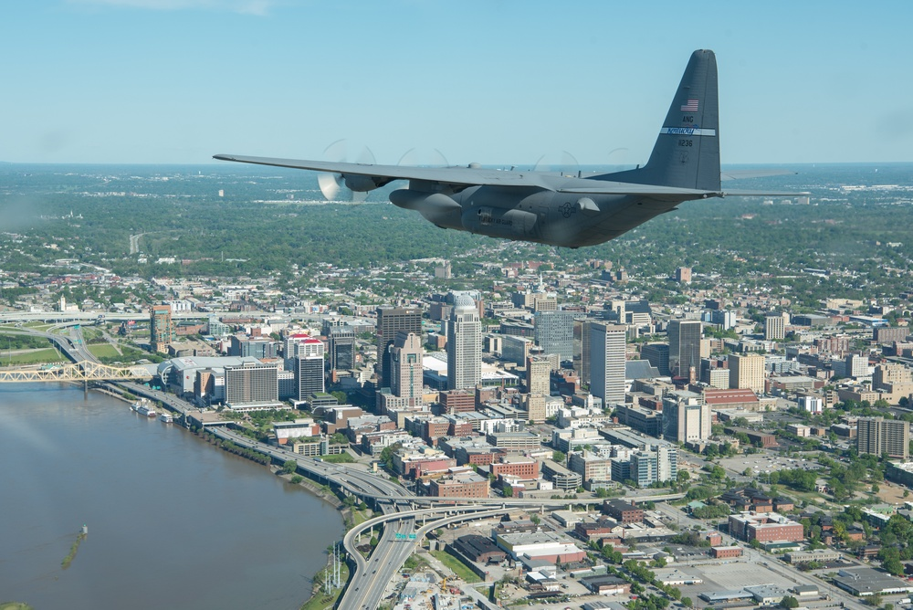 Kentucky Air Guard flies over the commonwealth during Operation American Resolve