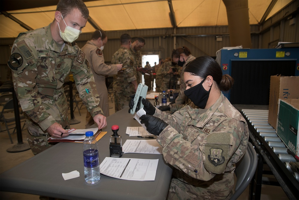 380th AEW executes COVID-19 prevention measures during deployment in-processing