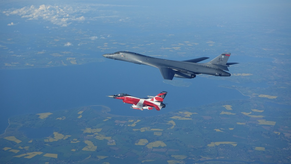 B-1 conducts training with Danish F-16 during BTF Europe