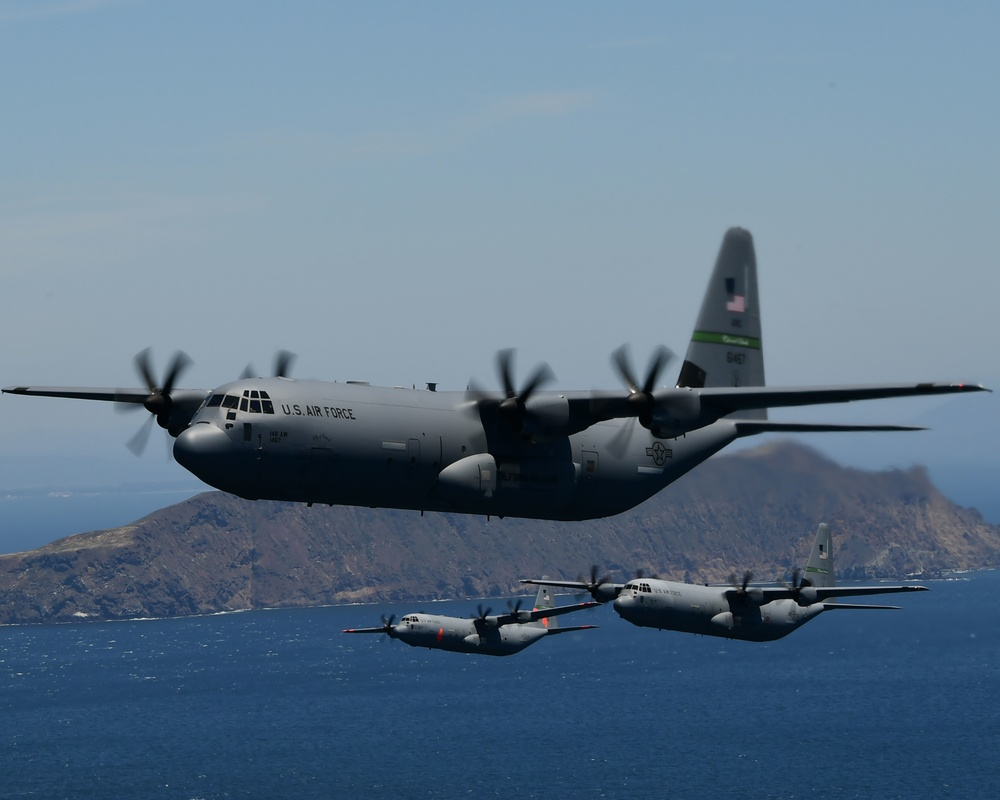 Cal Guard's 146th Airlift Wing salutes health care workers and first responders with flyover