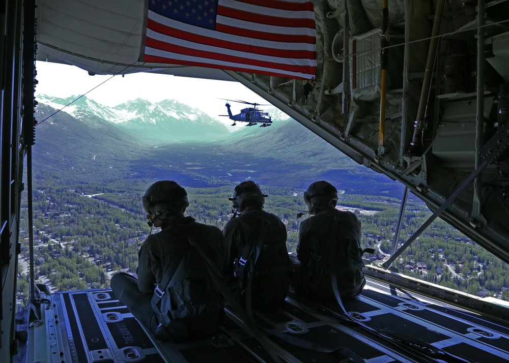 Alaska Air National Guard aircraft from the 176th Wing at JBER honored frontline COVID-19 responders and essential workers with a flyover May 13 in Eagle River, Palmer and Wasilla.