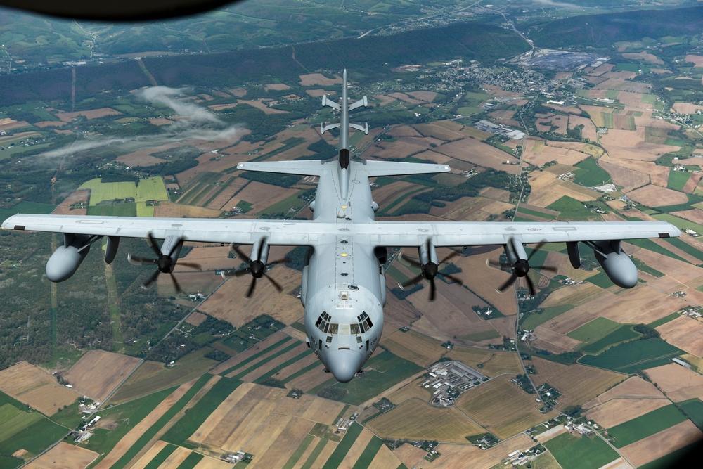KC-135 Refuels EC-130J